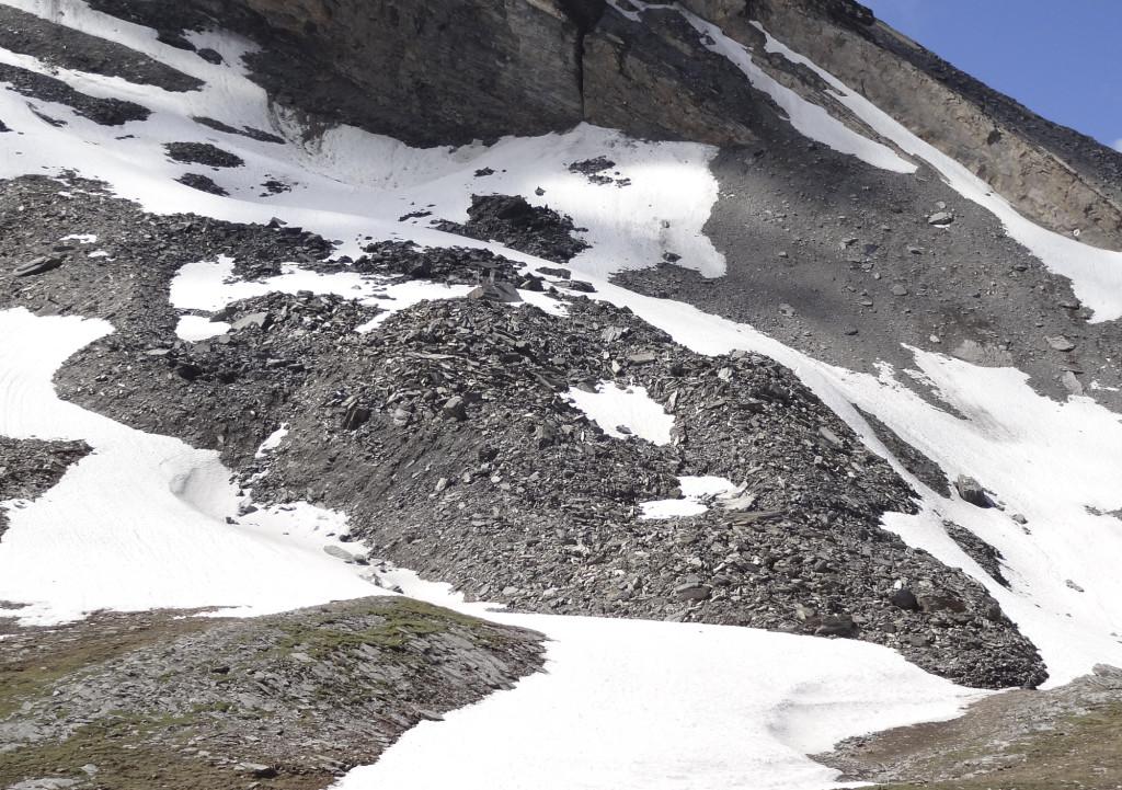 Blick auf einen Blockgletscher im «Furggentälti» nahe des Gemmipass im Frühsommer