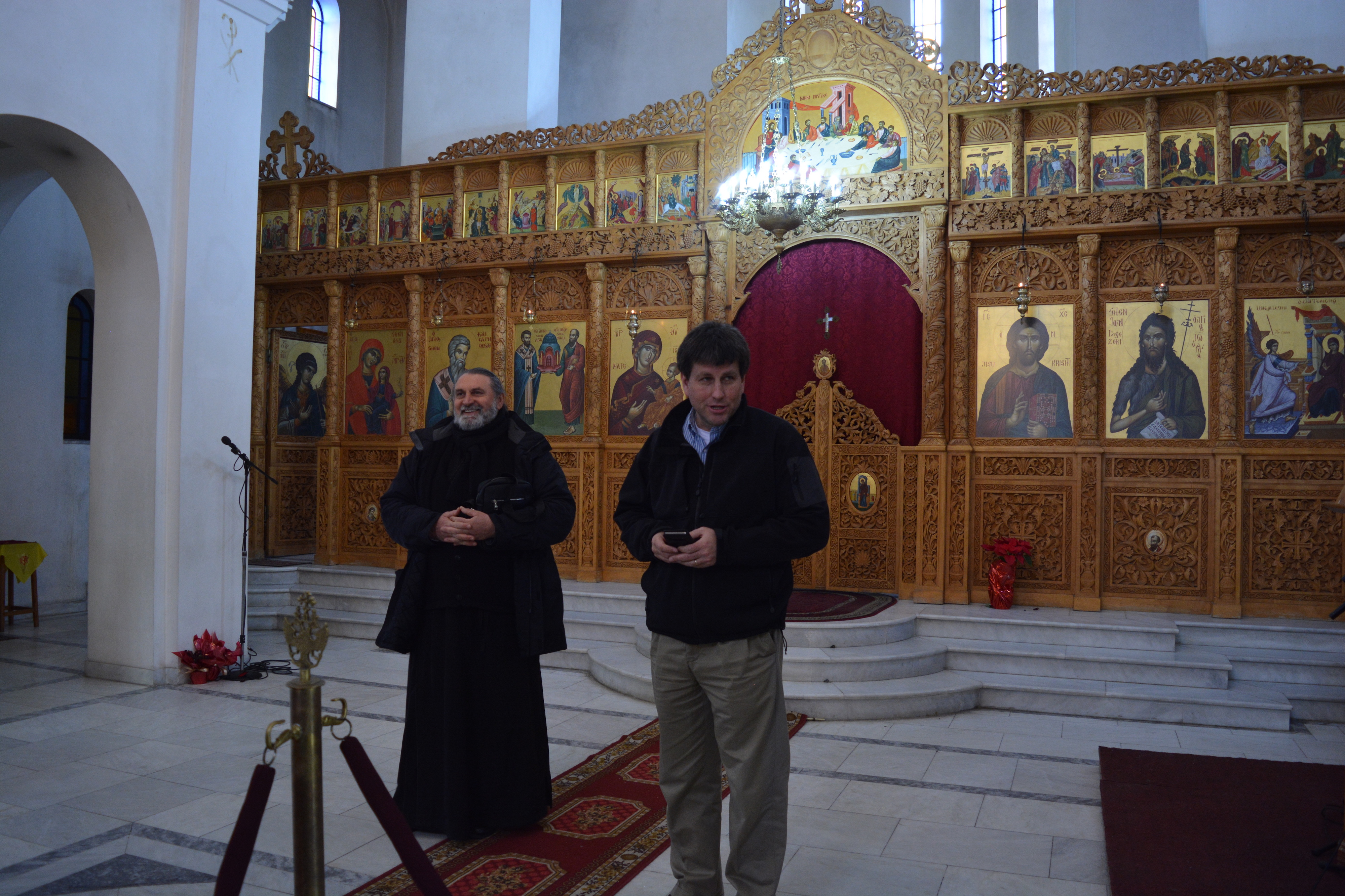 With Father Gerassim in his Church in Durrës