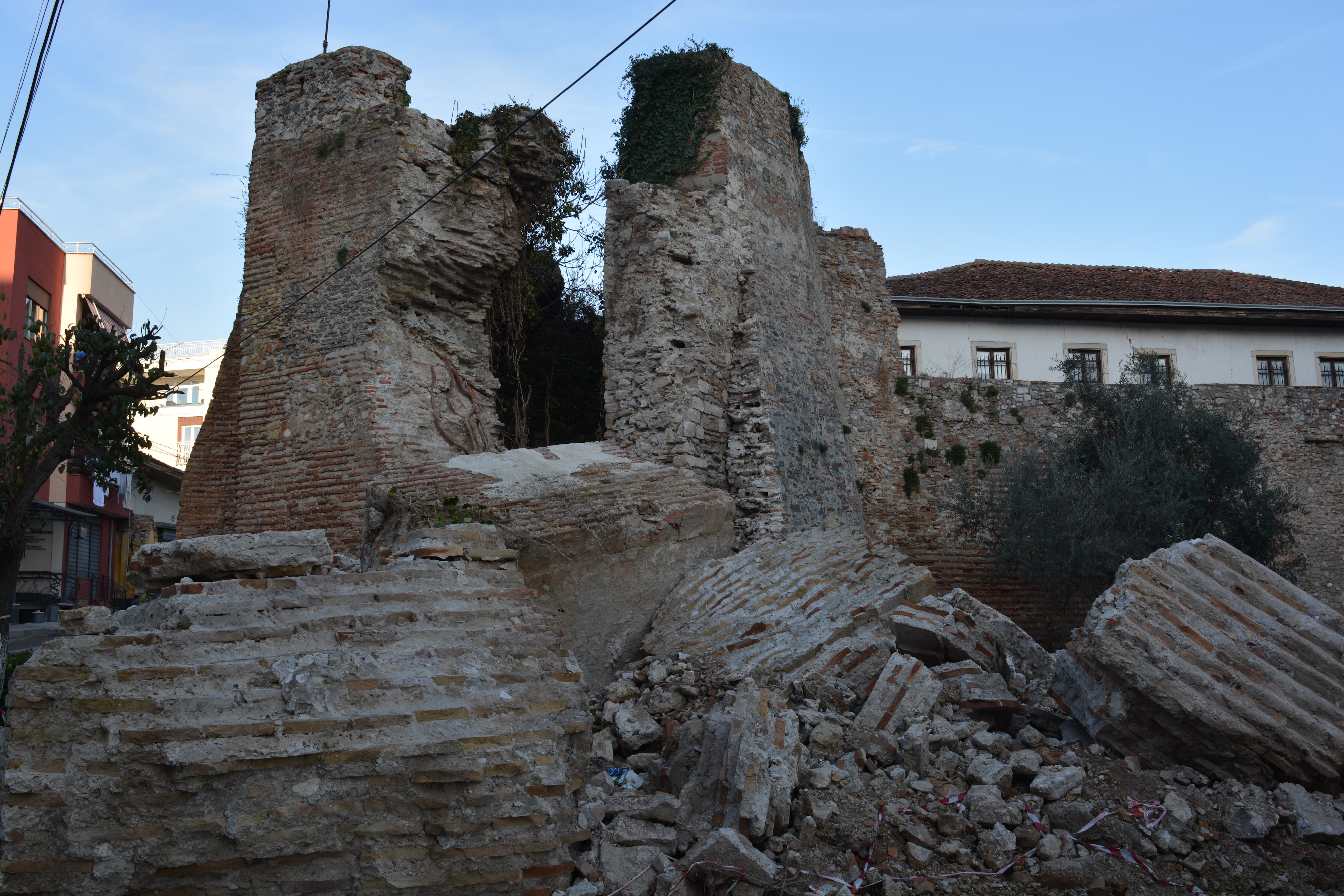 An old byzantine tower, broken down by the earthquake